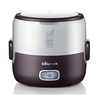 Bear Premium Mini Electric Double Layer Insulation Heating Egg andLunch Box Steamer & Rice Cooker DFH-S2016 1.3L Coffee