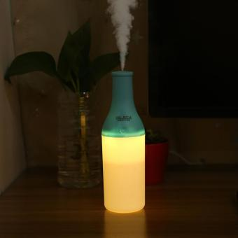 Cool Bottle Shaped USB Ultrasonic Humidifier Mini Aroma DiffuserWith LED Light New Blue - intl