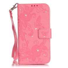 Moonmini Bling Diamonds Roses Butterfly PU Leather Wallet Card Slots Case Cover for Samsung Galaxy A3