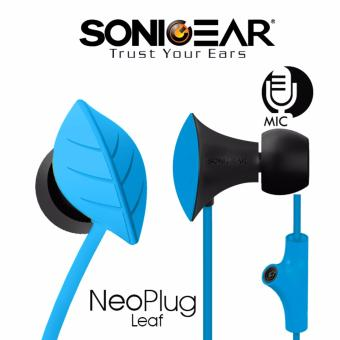 SonicGear NeoPlug Leaf Earphones with Built-In Mic Blue
