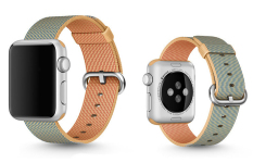 Woven Fabric Loop Strap Nylon Watch Band For Apple Watch 42mm In Gold Blue