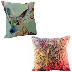 360DSC 2Pcs Oil Painting Cotton Linen Square Shaped Decorative Pillow Cover Pillowcase Pillowslip Deer u0026amp;