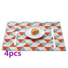 360DSC 4Pcs European Style Soft Linen Tableware Mat Table Runner Triangle Lattice Pattern Tablecloth Desk Cover