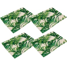 360DSC 4Pcs Soft Cotton Linen Tableware Mat Table Runner Green Leaves Printied Tablecloth Desk Cover PM0001