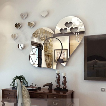 3D Mirror Love Hearts Wall Sticker Decal Home Room Art MuralRemovable - intl