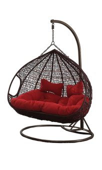 Amber Double Coffee Rattan Swing Chair With Red Cushion