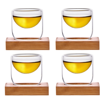 Biological Material heat-resistant creative double glass tea cup
