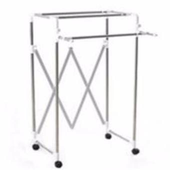 BR702 Three-rods foldable extendable Clothes Hanger Rack (White)