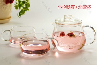 Cup handmade production tea goose pot + 2 Kung Fu tea glass potheat-resistant glass small enterprises with suit flower teapot Cup