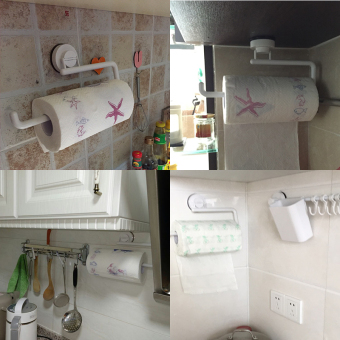 Dehub suction cup roll holder kitchen towel rack kitchen towel rack seamless free punch creative cling film rack