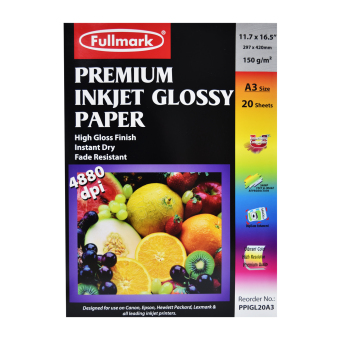 Fullmark Premium Inkjet Glossy Paper (Photo Paper), A3 size, 29.7cm X 42cm each (1 Pack, 20 sheets per pack) - compatible with HP, Canon, Epson, Lexmark and all leading inkjet printers