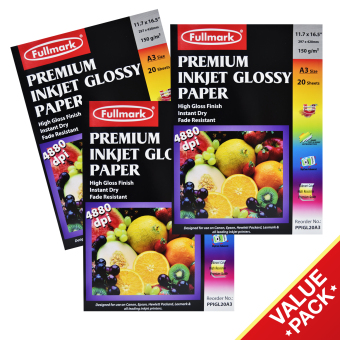 Fullmark Premium Inkjet Glossy Paper (Photo Paper) Value Set, A3 size, 29.7cm X 42cm each (3 Packs, 20 sheets per pack) - compatible with HP, Canon, Epson, Lexmark and all leading inkjet printers