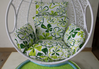 Green pattern rocking chair cushion basket wicker chair Circle PADbalcony swing single cushion nest hanging chair back cushion