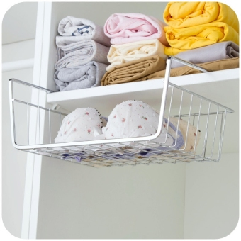Home home wardrobe storage rack metal shelf finishing frame kitchen cabinet under the rack compartment hanging basket storage rack