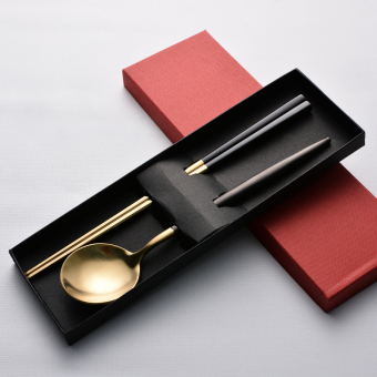 Korean style black gold slip spoon stainless steel chopsticks