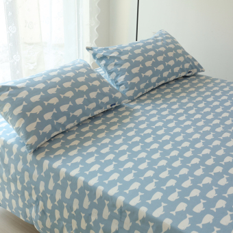 Linen one-piece cotton twill blue small Whale sheets 1.2 m 1.5m1.8 M 2.0 m bed