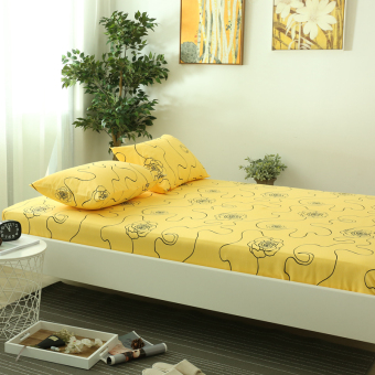 Linen one-piece cotton twill European minimalist pure yellow1.5m1.82.0 m single or double sheets