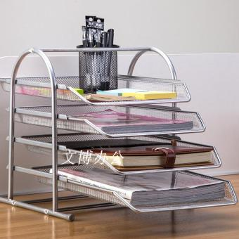 Metal office Wire four layer file rack