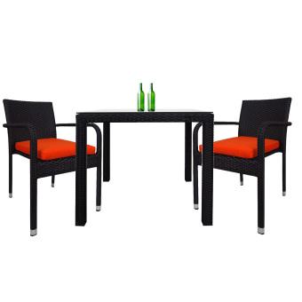 Palm 2 Chair Dining Set Orange Cushion 2 Year Warranty