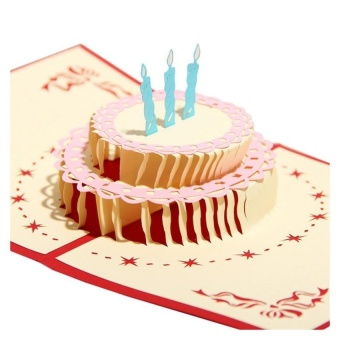 Paper Hand Pops Up 3D Birthday Cake Birthday Card - intl