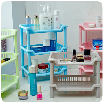 Plastic three layer multi-functional storage rack bathroom shelf