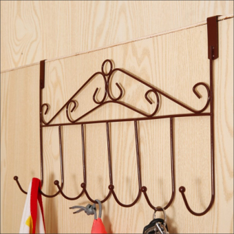 Retro wrought iron creative multi-purpose door after hook strongtrace-free nail hanger hanging clothes hook bold