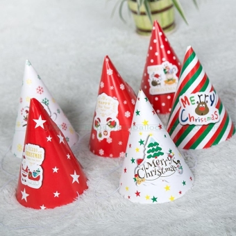 Snowman paper christmas decorations Christmas hat triangle cap