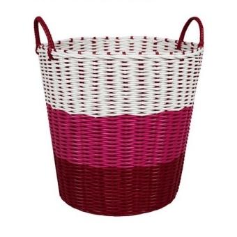 Tri colour woven laundry basket pink lazada singapore - Laundry basket lights darks colours ...