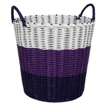Tri colour woven laundry basket purple lazada singapore - Laundry basket lights darks colours ...