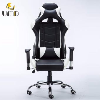 UMD 4D Ergonomic Leather High Back Gaming Chair Racing Style PC/Computer Chair (Black&White)