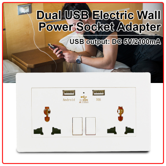 Universal Dual 2 USB Electric Wall Power Socket Outlet Adapter Plug Plate 2100mA