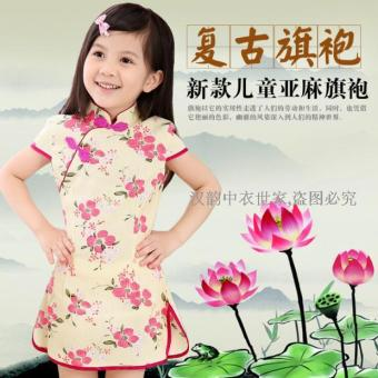 2016 Summer New style girls national wind Linen small cheongsam dress Chinese baby costume costumes clothes breathable