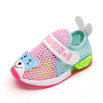 2017 Boys Girls mesh new sports shoes with lights 1-3-year-oldsmall children Baby Shoes Spring and Autumn shoes 2 year old