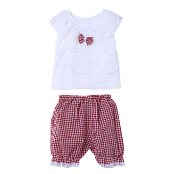 Baby Girls Clothing Set Bow Sleeveless Tops+Plaid Pants (Red)