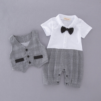 Baby Summer Cotton Piece modeling romper climbing clothes male Treasure full moon Hundred Days photographed dress gentleman tie