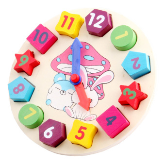 Baby toy digital shape clock early childhood educational building blocks