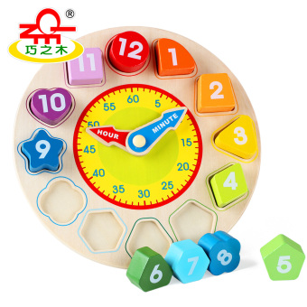 Baby with numbers clock matching building blocks