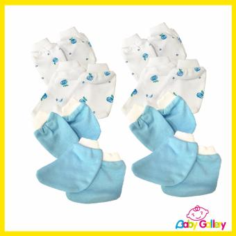 Casila Baby Mittens and Booties - 4-Set (2 Blue + 2 Flower Blue)