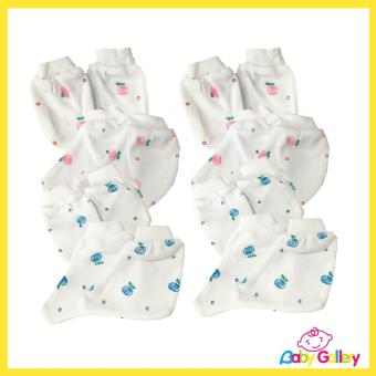 Casila Baby Mittens and Booties - 4-Set (2 Flower Pink + 2 FlowerBlue)