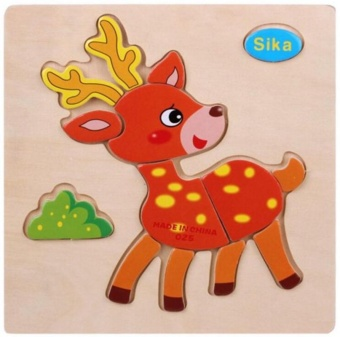 Children Puzzle Animal Wooden Jigsaw Toys Game for Education Sikadeer - intl