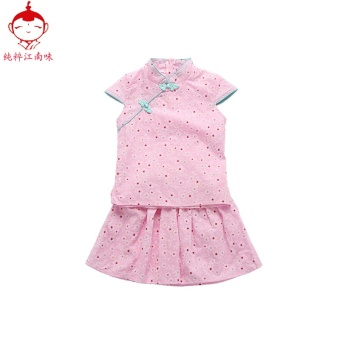 Children's costume dress summer New style girls bamboo cottoncheongsam dress baby cotton dress table show clothes