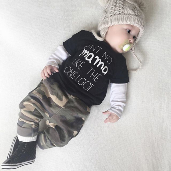 Cute Baby Letters Long-sleeved T-shirt Camouflage Pants Suit