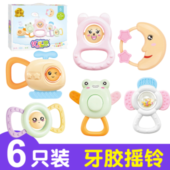 Hand Bell baby toys 0-3-6-12 a month baby male GIRL 4 puzzleteether 1-year-old newborn children Children 5
