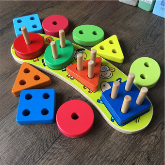 Intelligence children's matching building blocks sets column early childhood educational toys