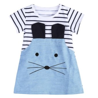Kids Girls Long Sleeve Striped Denim T-shirt Casual Dress - intl