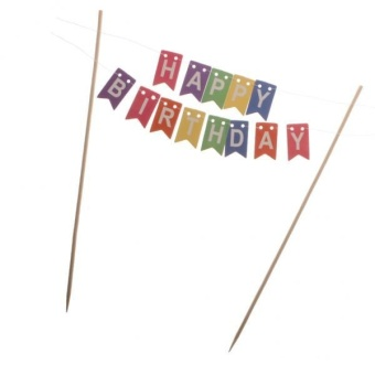 MagiDeal HAPPY BIRTHDAY Bunting Cake Topper Decor