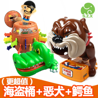 Parent and Child party game crocodile toys pirate barrel