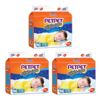 Petpet Night Tape Diapers M60 x 3 packs
