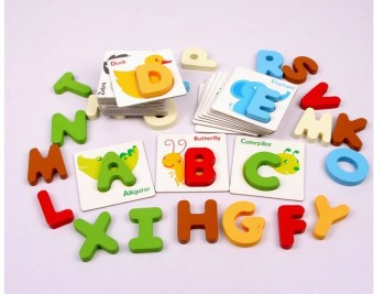 Wooden green English letters building blocks