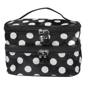 Portable 2 Layers Make-up Bag Cosmetic Case Toiletry Bag Organizer - intl